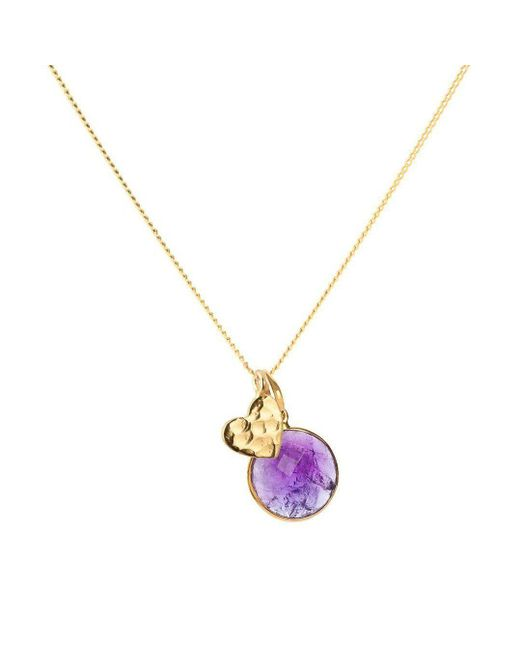 Elizabeth Raine - Metallic Heart Amulet + Amethyst Crown Chakra Pendant Necklace 24kt Gold Vermeil - Lyst