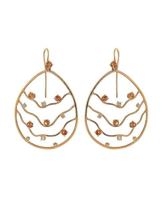 Botta Gioielli - Metallic Orange Sapphires And Diamonds Waves Earrings - Lyst