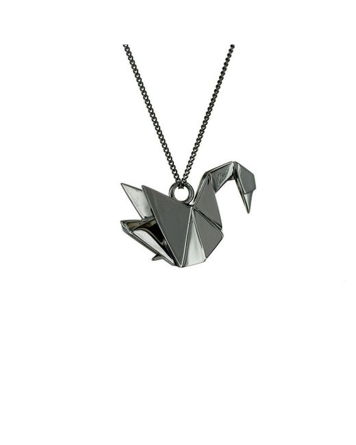 Origami Jewellery - Metallic Swan Black Silver Necklace - Lyst