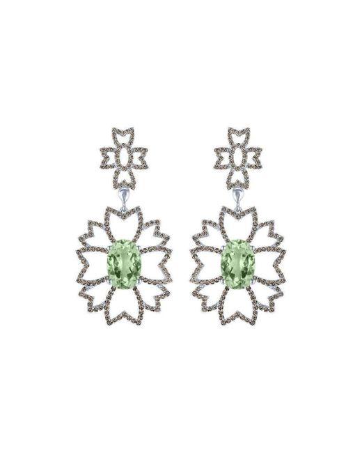 Arya Esha - Metallic Gold, Prasiolite & Diamond Drop Earrings | - Lyst