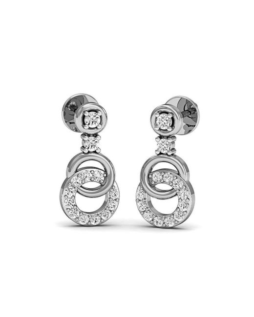 Diamoire Jewels - Metallic Fashion-forward Stylish Stud Earrings In 18kt White Gold - Lyst