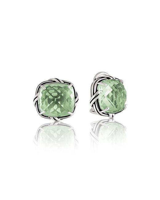 Peter Thomas Roth Fine Jewelry - Green Fantasies Prasiolite Clip Earrings Sterling Silver - Lyst