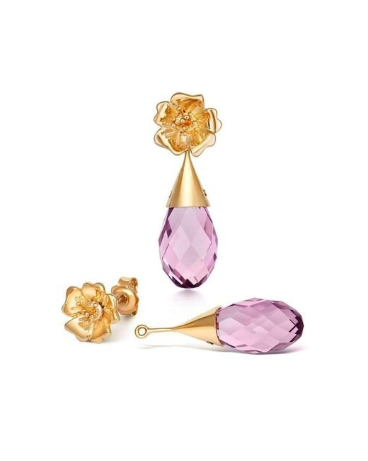 Liz Earle Fair and Fine - Multicolor Wild Rose Stud Earrings With Crystal Drops Gold - Lyst