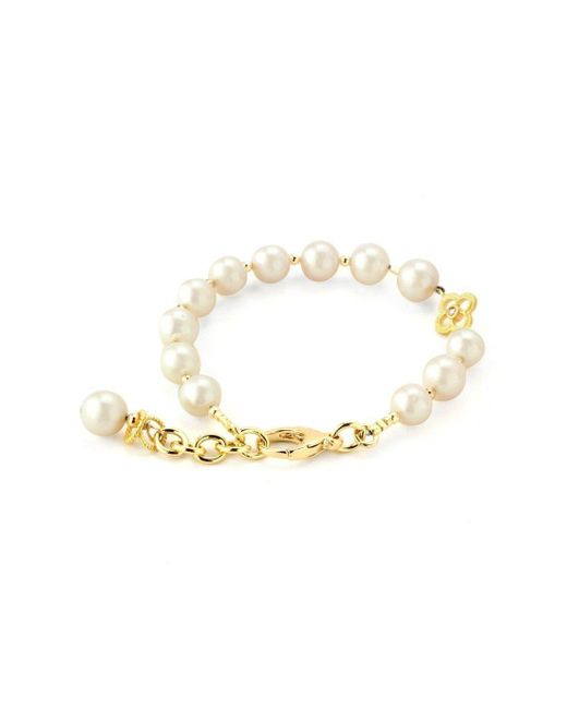 Elisa Ilana Jewelry - Metallic Yellow Gold, Pearl & Clover Lollies Bracelet | - Lyst