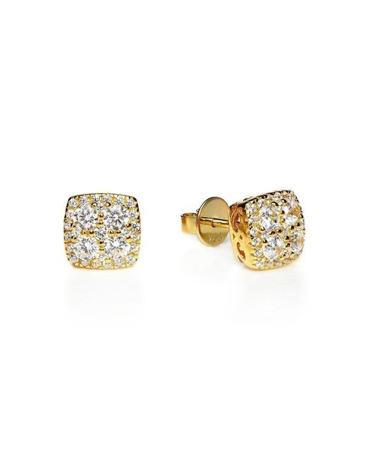 Lustre of London - Metallic Yellow Square Cluster Studs - Lyst