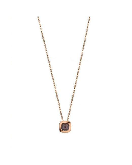 Purnell - Metallic Rose Gold And Smokey Quartz Checkerboard Necklace - Lyst