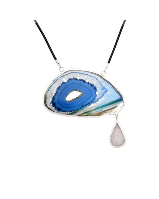 Lia Chahla | Blue Agate Slice And White Druzy Tear Of Joy Necklace | Lyst
