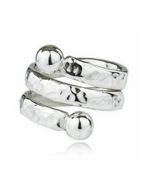 Lavan - Metallic Handmade Sterling Silver Heavy Hammered Coil Ring - Lyst