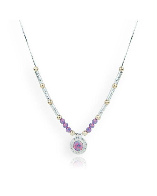 Lavan - Metallic Gold And Silver Hammered Necklace With Purple Opals - Lyst