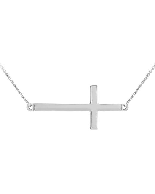 QP Jewellers | Metallic Sideways Cross Pendant Necklace In 9kt White Gold | Lyst