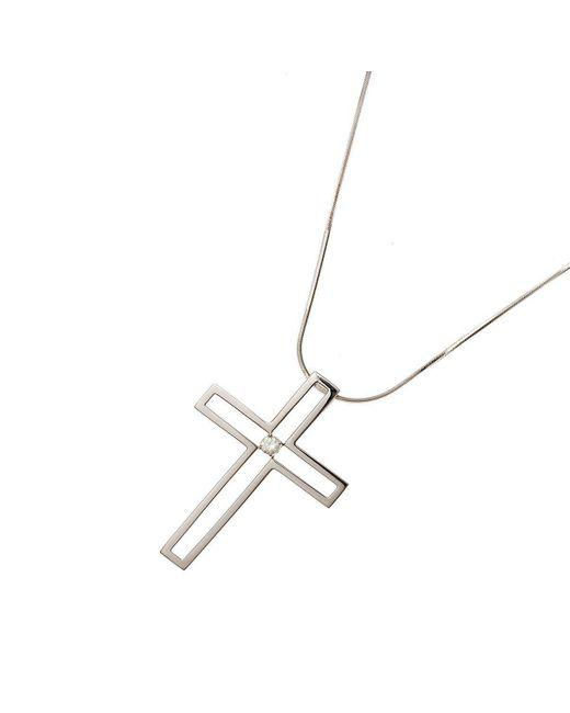 Nehita Jewelry - Metallic White Gold Diamond Cross Necklace - Lyst
