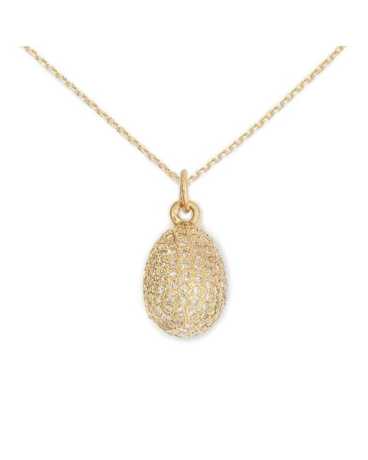 Delicacies Jewelry - Metallic 14kt Gold Pave Egg Necklace - Lyst