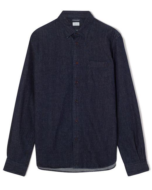 jigsaw indigo denim shirt in blue for lyst