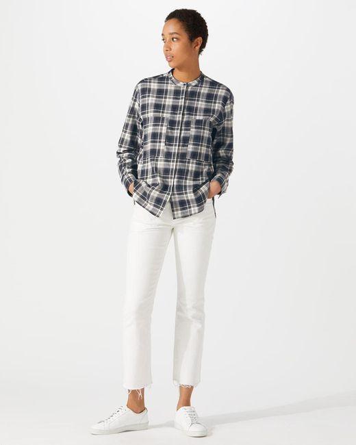 167f680c57cda3 Jigsaw - Gray Grandad Collar Check Shirt - Lyst ...