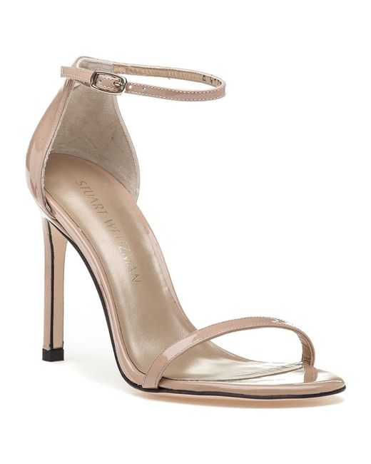 Stuart Weitzman | Natural Nudistsong Adobe Patent Leather Sandal | Lyst