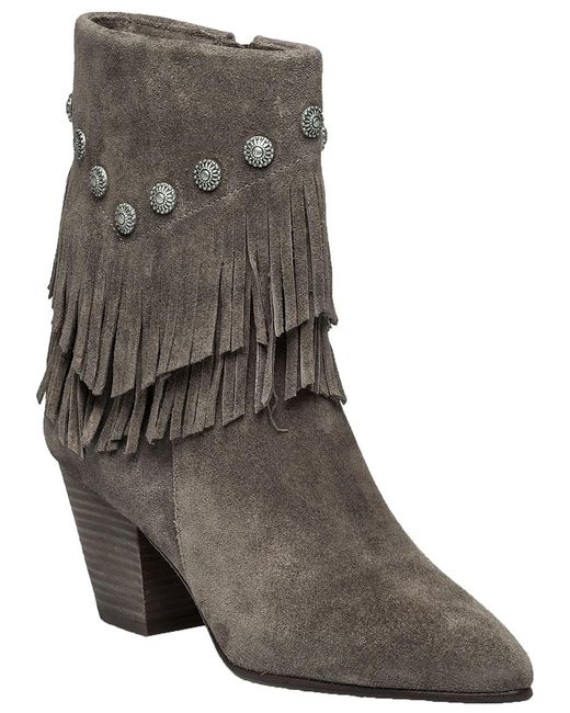Belle By Sigerson Morrison   Gray Yardley Vigona Fringed Suede Ankle Boots   Lyst