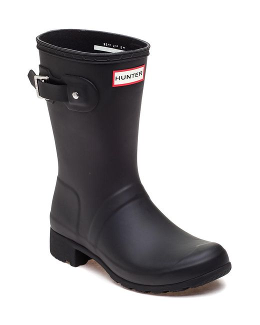 Hunter   Original Tour Short Black Rubber Rain Boot   Lyst