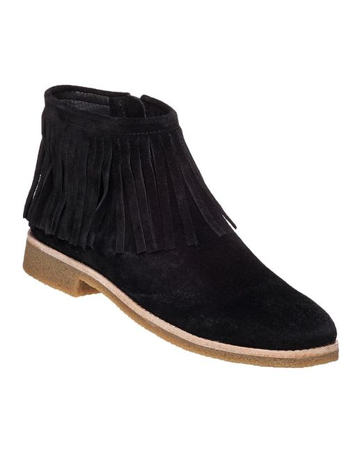 Kate Spade | Black Betsie Fringed Suede Ankle Boots | Lyst