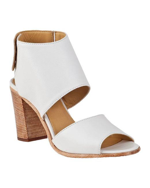 275 Central | Block Heel Sandal White Leather | Lyst