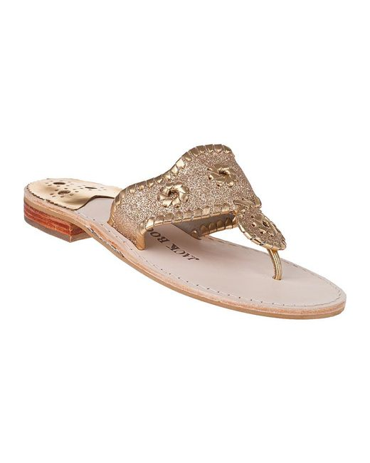 Jack Rogers | Metallic Sparkle Thong Sandal Gold Glitter | Lyst