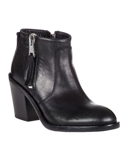 275 Central - Black Adam Dual-Zip Leather Ankle Boot  - Lyst