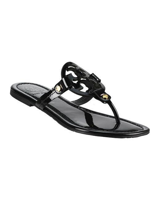 Tory Burch | Miller Thong Sandal Black Patent | Lyst