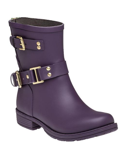 Colors Of California - Biker Zip Low Rain Boot Purple - Lyst