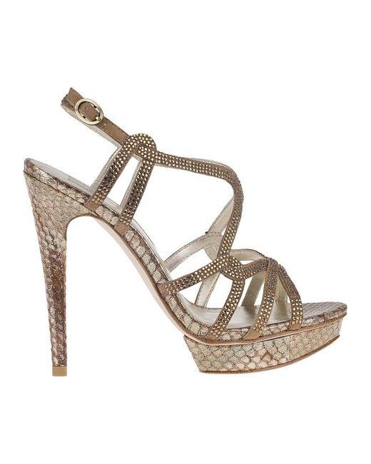 ... Pelle Moda - Metallic Flirt Evening Sandal Bronze Snake - Lyst ...