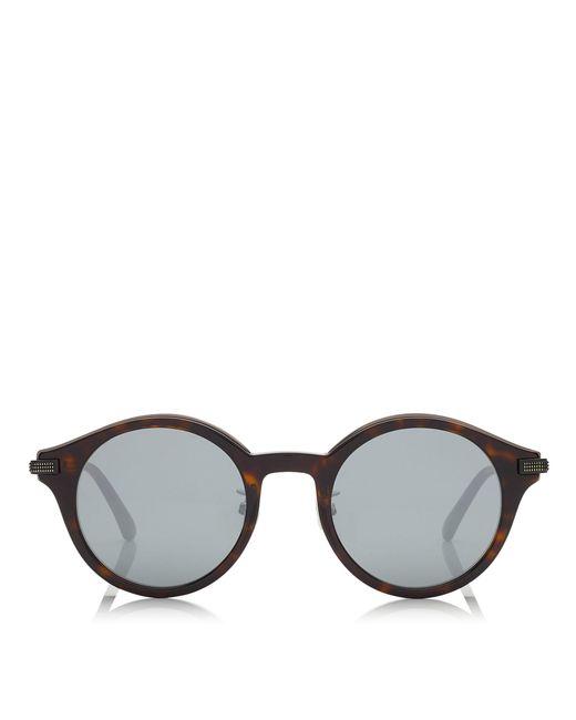 Jimmy Choo - Black Nick Havana Red And Dark Ruthenium Matt Round Frame Sunglasses for Men - Lyst
