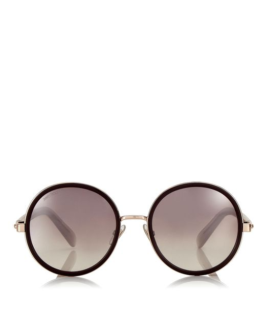 6770098c946 Jimmy Choo - Metallic Andie Burgundy And Copper Gold Metal Round Framed  Sunglasses With Crystal Detailing ...