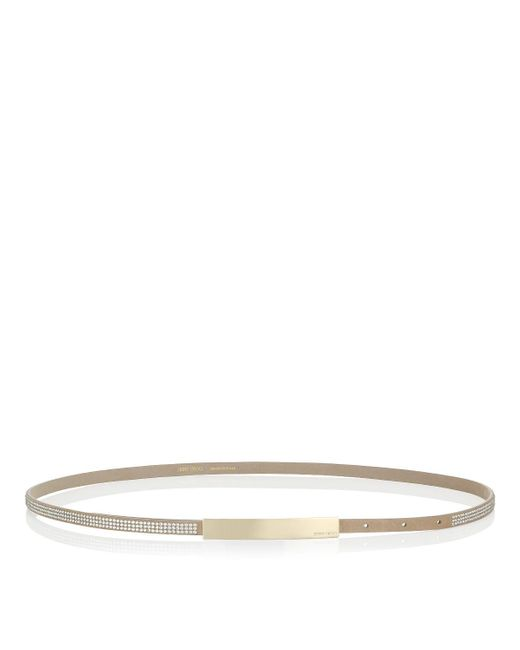 Jimmy Choo | Natural Blossom Nude Suede Belt With Crystals | Lyst