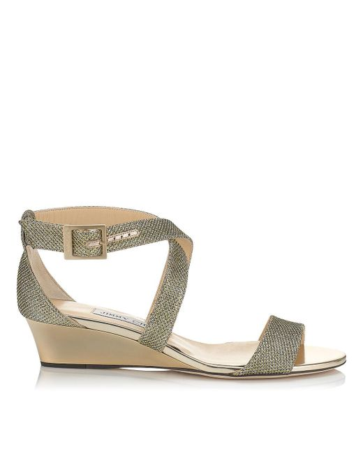 Jimmy Choo | Metallic 'chiara' Wedge Sandal | Lyst