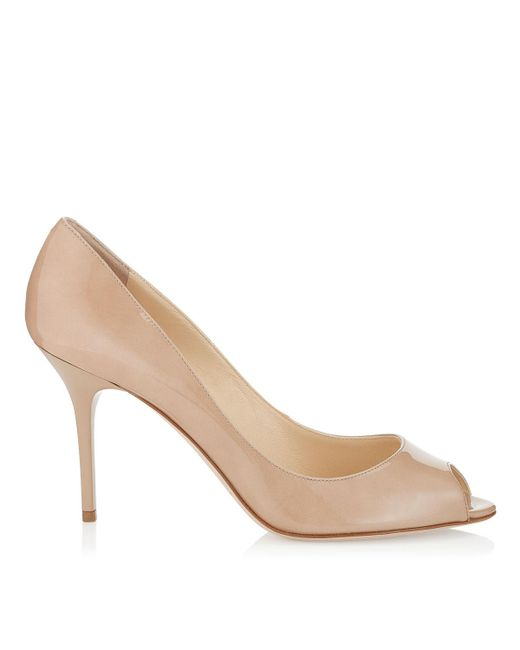 Jimmy Choo | Natural Evelyn Patent Leather Peep-toe Pump | Lyst