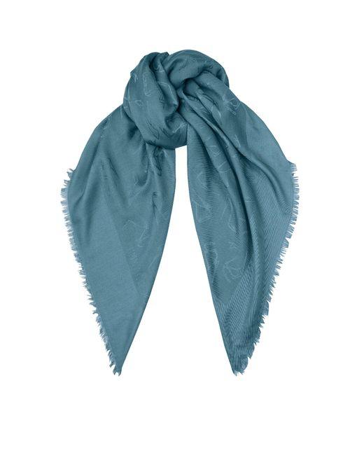 Jimmy Choo | H6s071480 Blue Medium Silk And Wool Scarf | Lyst