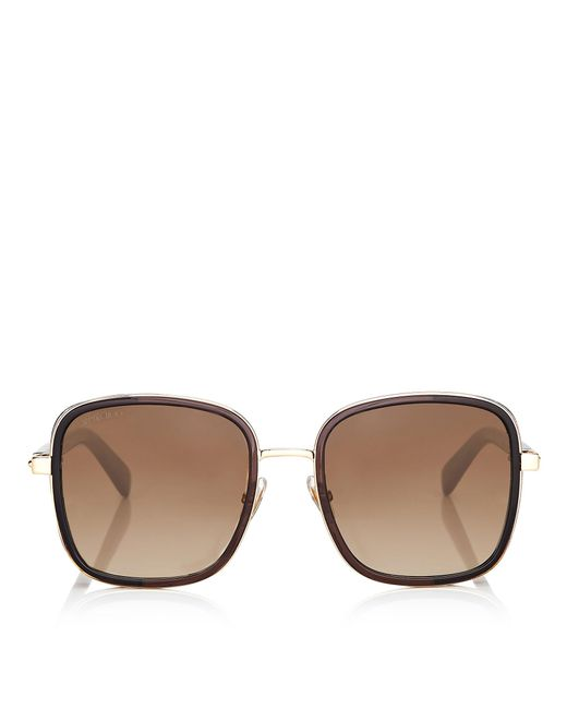 8f16a41f1c0f Jimmy Choo - Brown Elva Black And Gold Metal Oversized Sunglasses With  Crystal Fabric Detailing ...