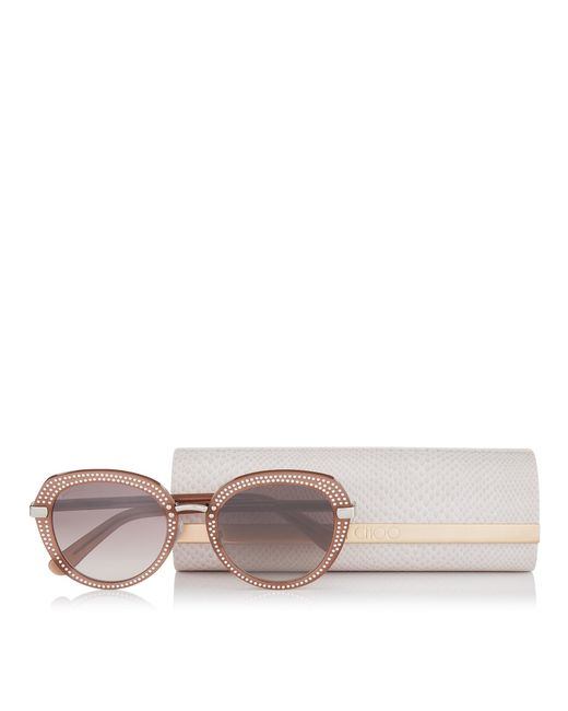 34d575dc3efa ... Jimmy Choo - Brown Mori Opal Nude Acetate Sunglasses With Stud Detailing  - Lyst