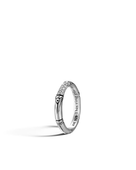 John Hardy - Metallic Band Ring With Diamonds - Lyst