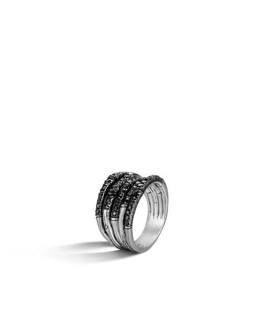 John Hardy | Metallic Bamboo Ring With Black Sapphire | Lyst