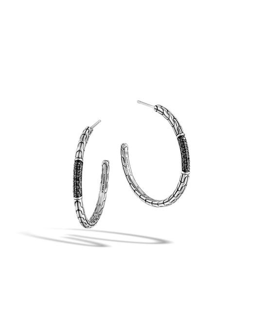 John Hardy | Classic Chain Medium Hoop Earring With Black Sapphire | Lyst
