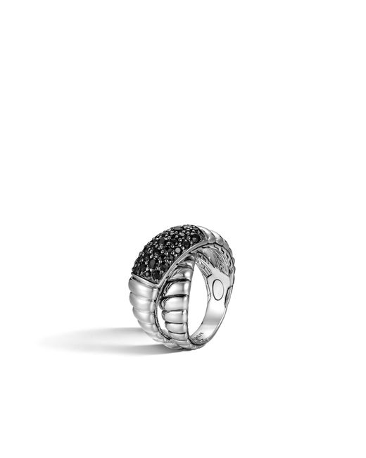 John Hardy | Metallic Classic Chain Overlap Ring With Black Sapphire | Lyst