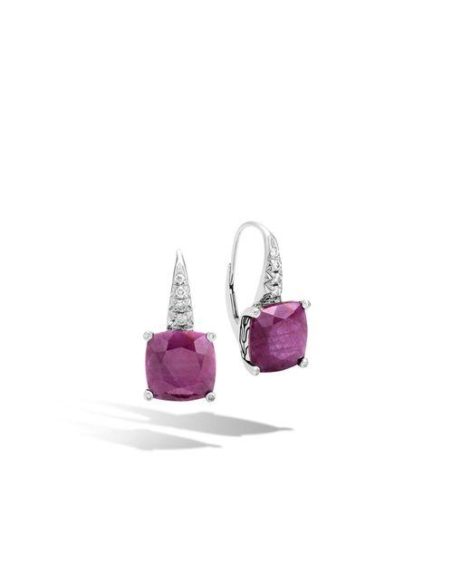 John Hardy | Purple Magic Cut Drop Earring, Indian Ruby And Diamonds | Lyst