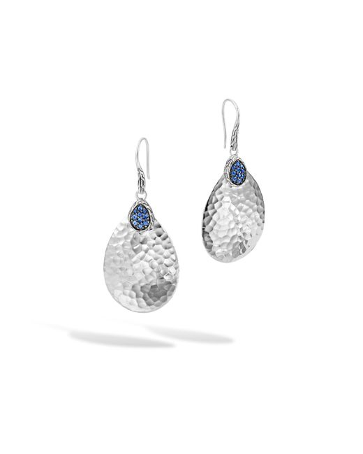 John Hardy   Classic Chain Hammered Small Drop Earring, Blue Sapphire   Lyst