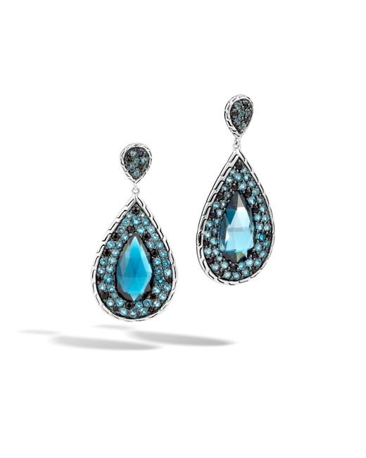 John Hardy | Classic Chain Drop Earring With London Blue Topaz | Lyst