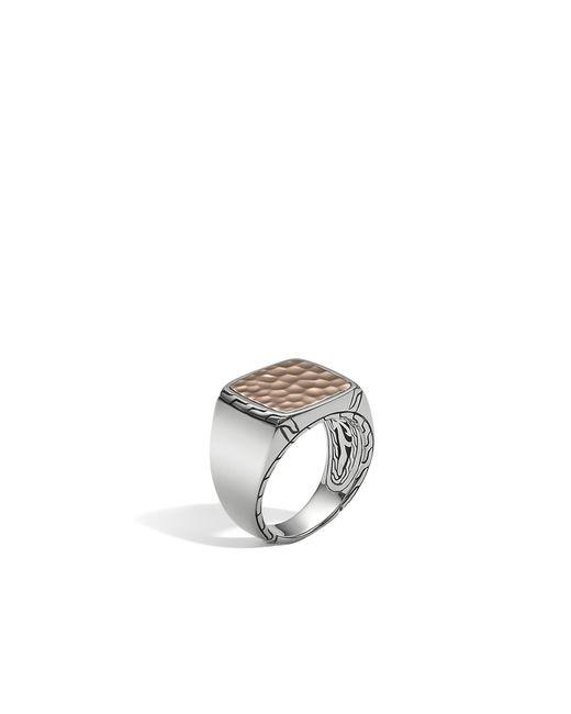 John Hardy | Metallic Hammered Signet Ring for Men | Lyst