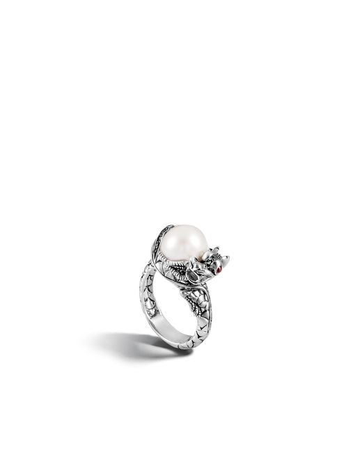 John Hardy - White Naga Ring With Pearl And Black Sapphire - Lyst
