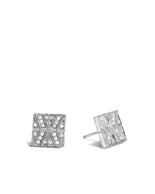 John Hardy - White Modern Chain Stud Earring With Diamonds - Lyst