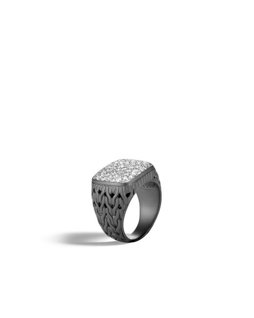 John Hardy - Multicolor Classic Chain Signet Ring With Diamonds - Lyst