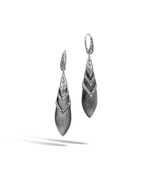 John Hardy | Metallic Modern Chain Drop Earring With Silver Sheen Obsidian And Dia | Lyst