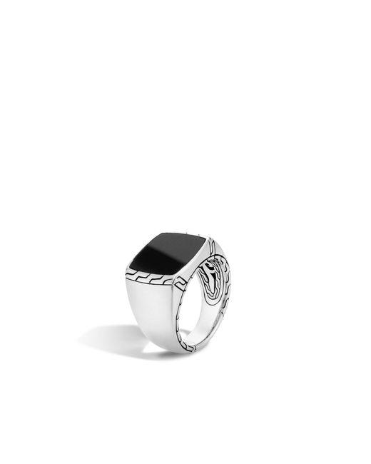 John Hardy - Metallic Classic Chain Signet Ring With Black Jade for Men - Lyst