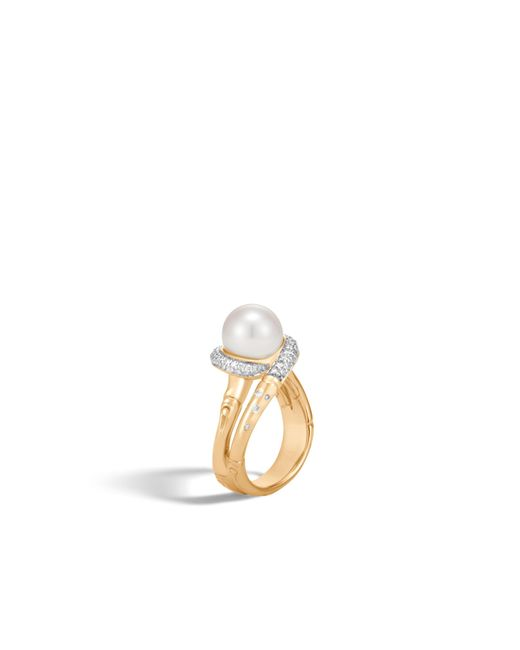 John Hardy | White Bamboo Ring With Pearl And Diamonds | Lyst